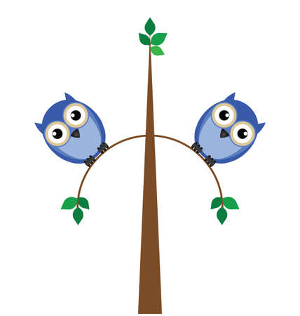 tubby: Two overweight owls sat on a thin tree