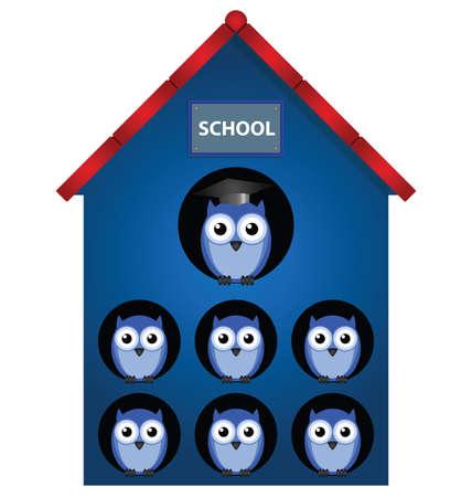 Owl teacher and owl pupils in school Vector