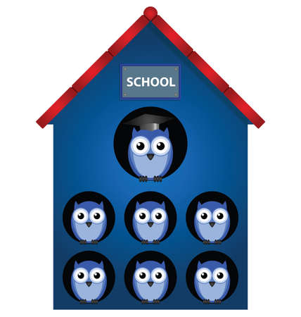 Owl teacher and owl pupils in school