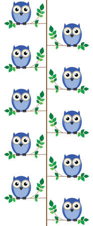 Owls sat in a tree isolated on white background  Vector