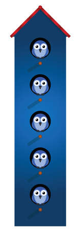 high rise: Birds living in an apartment building isolated on white background Illustration