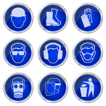 safety goggles: Construction health and safety buttons isolated on white background