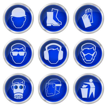 industrial engineering: Salud, la construcci�n y los botones de seguridad aisladas sobre fondo blanco