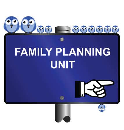 Aves y planificación de la familia firman aislada sobre fondo blanco