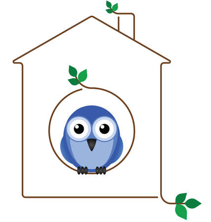 Birdhouse made of twigs isolated on white background Vector