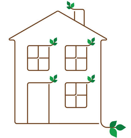domiciles: Representation of a green ecology house isolated on white background Illustration