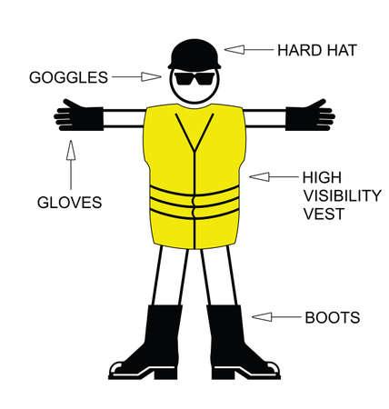 건설 안전 보건 개인 보호 장비는 흰색 배경에 고립 일러스트