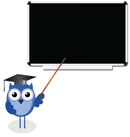 wise owl: Owl teacher copy space for own text on blackboard Illustration