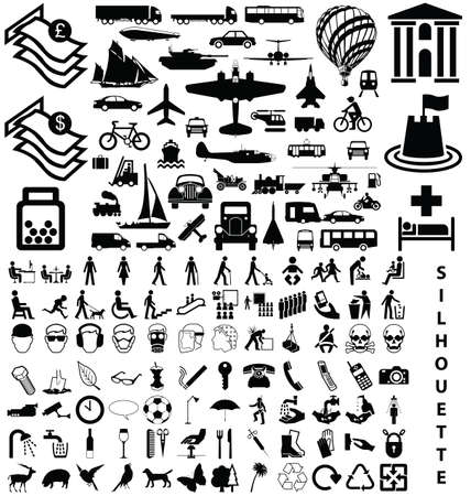 Silhouette collection including transport people animals objects Vector