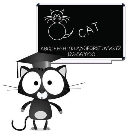 written text: Pussycat children learning blackboard with alphabet and numbers
