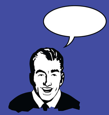 verbal: Retro style man with speech bubble for own text