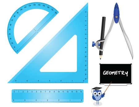Geometry Set instruments isolated on white background  Illustration