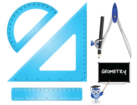 metric: Geometry Set instruments isolated on white background  Illustration