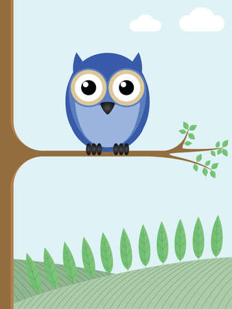 sat: Owl sat on a tree branch with a countryside backdrop Illustration