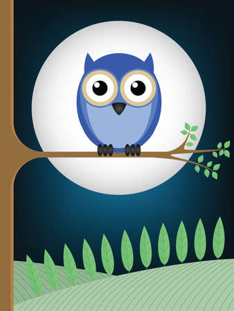 Owl sat on a tree branch against a full moon Vector