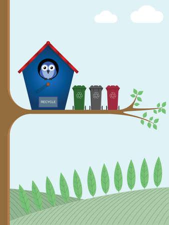awaiting: Birdhouse con contenedores de reciclaje en espera de recogida