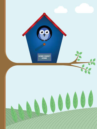 Home sweet home sign on a birdhouse Vector