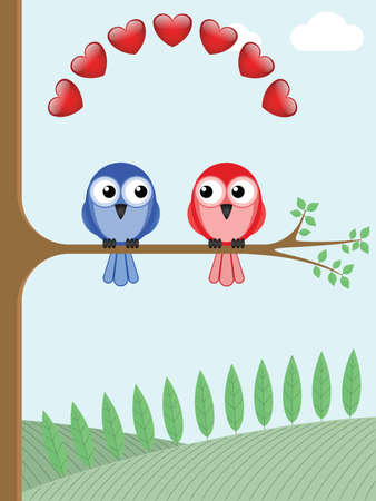 Two bird lovers sat on a tree branch Stock Vector - 11965991
