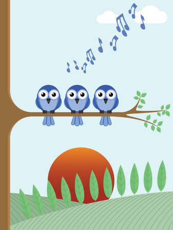 Bird dawn chorus singing as the sun rises Vector