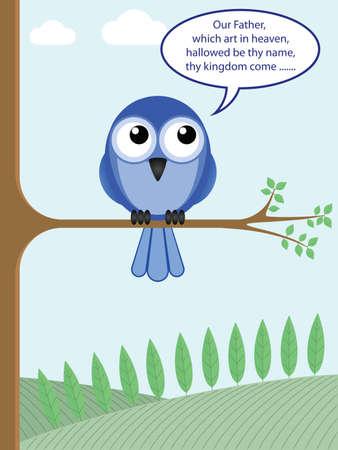 devout: Different funny take on a bird of prey Illustration