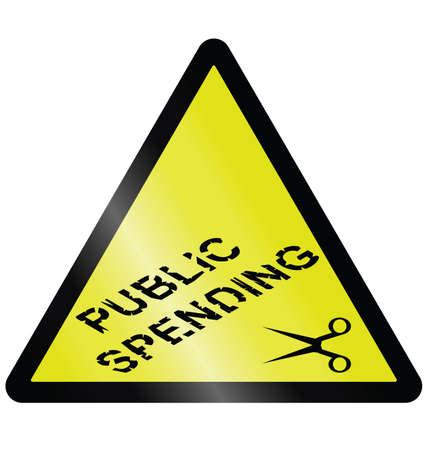 spending: Public spending cuts warning hazard sign isolated on white background