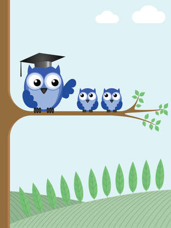 Owl teacher and pupils sat on a tree branch Stock Illustratie