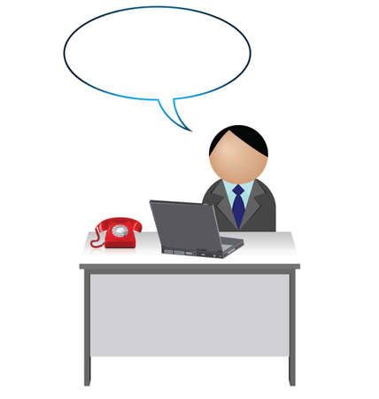 clerical: Male worker with blank speech bubble for own text Illustration