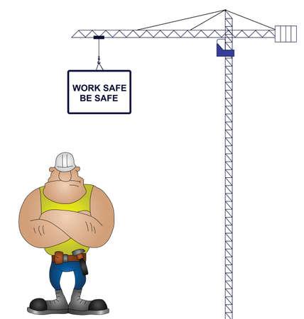 ingeniero caricatura: Grúa de la salud y el mensaje de seguridad aisladas sobre fondo blanco