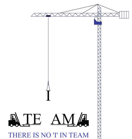 Crane with no I in team motivational message isolated on white background Stock Vector - 12197134