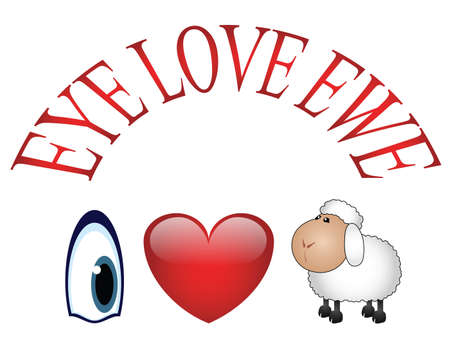 Eye Love Ewe message I love You Stock Vector - 12197146