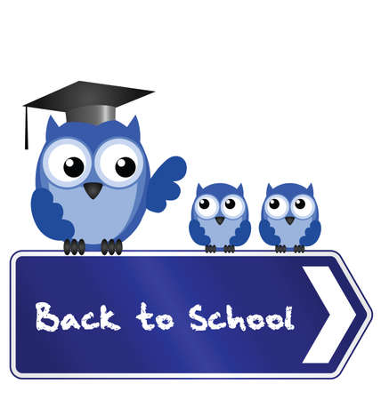 Owl teacher and pupils with back to school message on sign Vectores