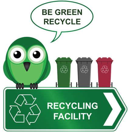 recycler: Recyclage signe avec l'oiseau avec des bacs de recyclage