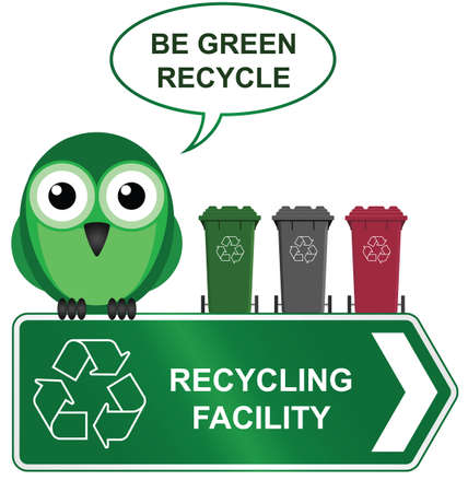 Recycling sign with bird with recycling bins