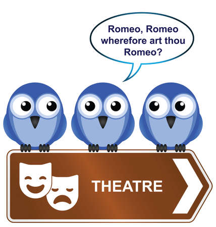 romeo and juliet: Theatre sign with bird reciting from a play