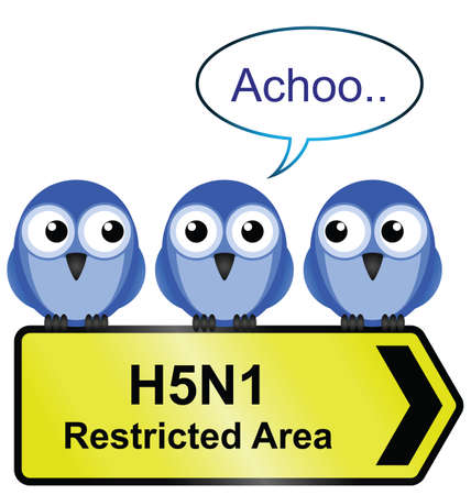 avian flu: H5N1 bird flu sign with bird sneezing  Illustration