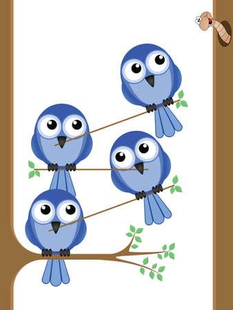 camaraderie: Bird teamwork to reach a worm for their lunch Illustration