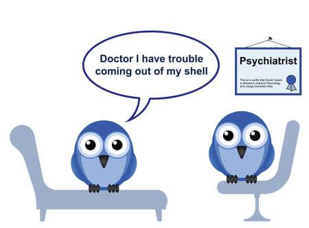 의사 돌팔이 의사와 수줍음과 정신과 소파에 일러스트