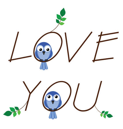 Love you twig text with two lovesick birds Stock Vector - 13593631