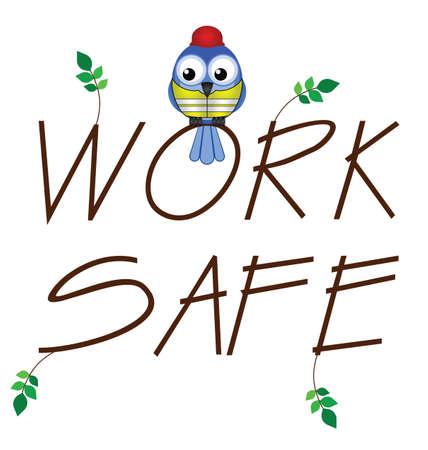 industrial safety: Trabaje con seguridad rama de texto con el trabajador de la construcci�n de aves Vectores