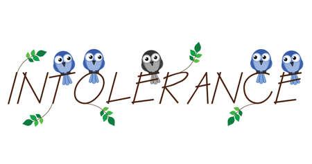 intolerancia: Intolerancia rama texto que representa el racismo hacia las minor�as en la sociedad