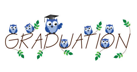 nursery school: Graduation twig text isolated on white background Illustration