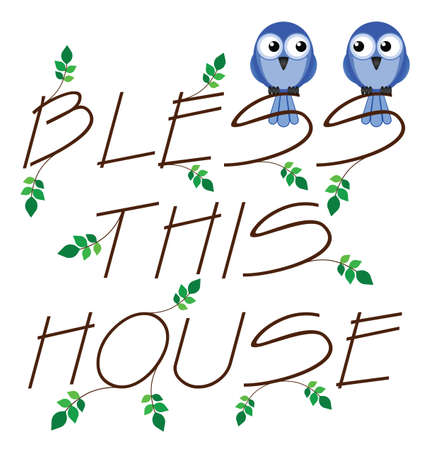 Bless this house twig text isolated on white background Stock Vector - 13724691