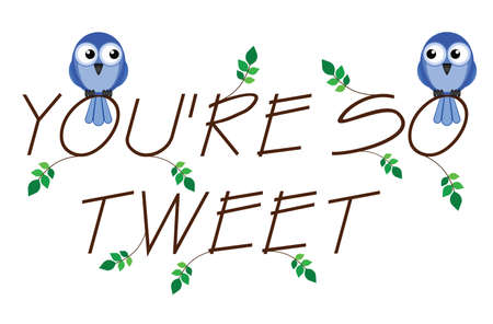 to adore: So Tweet twig text with two lovesick birds Illustration