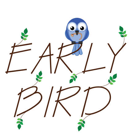 Early bird catches the worm twig text Stock Vector - 13739579