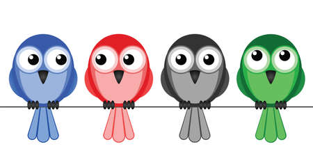 sat: Multicultural birds sat on a wire isolated on white background Illustration