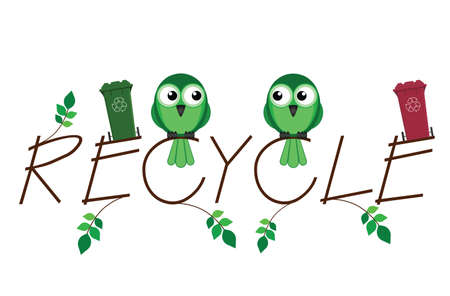 recycle bin: Recycle twig text and recycling wheelie bins Illustration