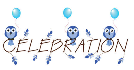 merriment: Blue celebration twig text isolated on white background Illustration