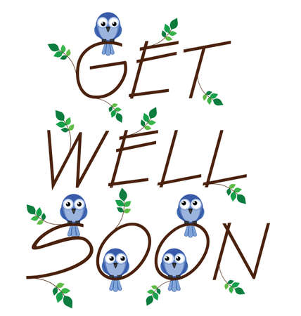 get well: Get well soon twig text isolated on white background