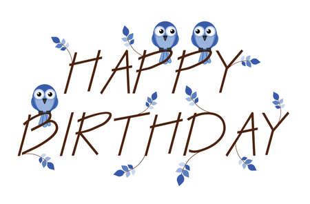 Blue Happy Birthday twig text isolated on white background Stock Vector - 13994021