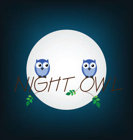 Night owl twig text set against a full moon Stock Vector - 14129294